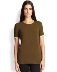 Burberry Brit - Green Check-Cuffed Tee - Lyst