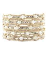 Chan Luu | Natural White Mop Scalloped Wrap Bracelet On Petal Leather | Lyst