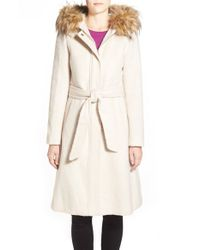 Eliza J | Natural Belted Brushed Wool Blend Fit & Flare Coat With Faux Fur Trim Hood | Lyst