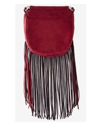 Express | Purple Fringed Faux Suede Cross Body Bag | Lyst