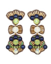 Suzanna Dai | Blue Phoenicia Drop Earrings, Navy/green/gold | Lyst