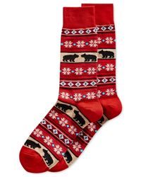 Hot Sox - Red Bears And Stripes Crew Socks for Men - Lyst