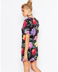 Jaded London - Black Wallpaper Floral T-shirt Dress - Multi - Lyst