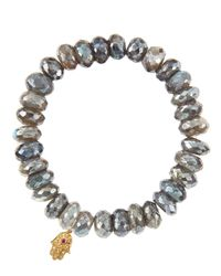 Sydney Evan | Metallic Mystic Labradorite Rondelle Beaded Bracelet With 14K Gold Hamsa Charm (Made To Order) | Lyst