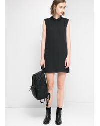 Mango - Black Shirt Collar Dress - Lyst