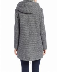 Vince Camuto | Gray Faux Fur-trimmed Asymmetrical Zip Coat | Lyst