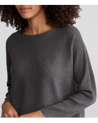 Eileen Fisher - Multicolor Washable Wool Crepe Rib Bateau Neck Box-top - Lyst
