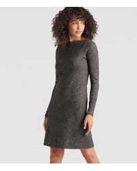 Eileen Fisher - Gray Organic Cotton Wool Bateau Neck Dress - Lyst