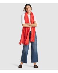 Eileen Fisher - Red Organic Cotton Fringe Scarf - Lyst