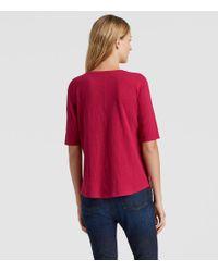 Eileen Fisher - Red Organic Cotton Slub Elbow-sleeve Top - Lyst