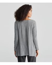 Eileen Fisher - Gray Seamless Featherweight Luxe Merino High-low Top - Lyst