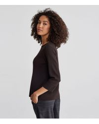 Eileen Fisher - Black Washable Wool Crepe Bateau Neck Top - Lyst
