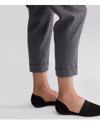 Eileen Fisher - Gray Heathered Stretch Flannel Twill Straight Ankle Pant - Lyst