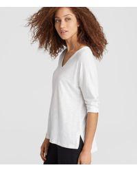 Eileen Fisher - White Organic Linen Jersey V-neck Top - Lyst