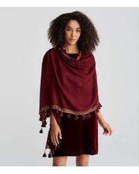Eileen Fisher - Red Tasseled Shimmer Wool Scarf - Lyst