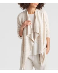 Eileen Fisher - Natural Peppered Organic Cotton Wool Drape-front Cardigan - Lyst