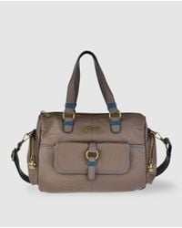 Caminatta - Brown Taupe Bowling Bag With A Detachable Strap - Lyst