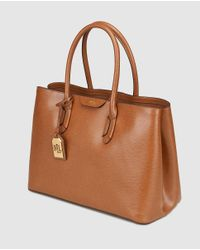 Lauren by Ralph Lauren - Brown Leather Tote Bag With A Pendant - Lyst