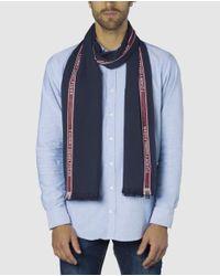 Tommy Hilfiger Navy Blue Cotton Foulard With Red Side Stripe for men