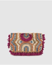El Corte Inglés Multicolor Wo Black Crossbody Bag With Embroidered Fabric And Shell Detail