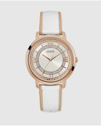 Guess | White W0934l1 Montauk Leather Watch | Lyst