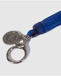 Gloria Ortiz - Blue Nappa Leather Key Ring With A Pompom - Lyst
