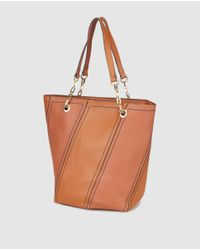 El Corte Inglés Brown Tote Bag With Diagonal Panels