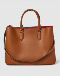 Lauren by Ralph Lauren - Brown Leather Handbag With Mock-croc Details - Lyst