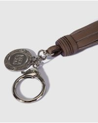 Gloria Ortiz - Brown Taupe Nappa Leather Key Ring With A Pompom - Lyst