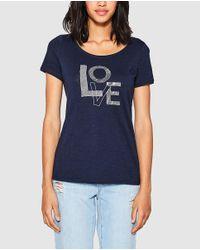 Esprit - Blue T-shirt With Slogan And Rhinestones - Lyst
