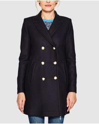 Esprit - Blue Long Coat With Double Buttons - Lyst