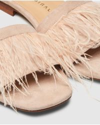 Pedro Miralles - Natural Tan Flat Sandals With Feathers Detail - Lyst