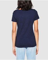 Esprit - Blue T-shirt With Slogan And Rhinestones - Lyst