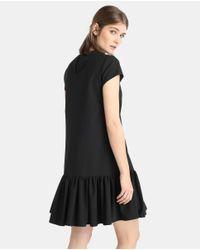 Emporio Armani Black Robe Noire Femme Volantée Dans Le Bas