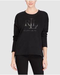 Lauren by Ralph Lauren - Black Long-sleeve Sweater With A Round Collar - Lyst