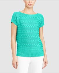 Lauren by Ralph Lauren | Blue Petite Interlock Patterned Sweater | Lyst
