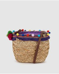 Green Coast | Small Natural Market Tote With Border And Pompoms | Lyst