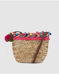 GREEN COAST - Small Natural Market Tote With Multicoloured Pompoms - Lyst