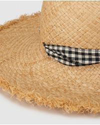 Gloria Ortiz Natural Wo Tan Hat With A Check Print Bow