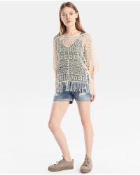 GREEN COAST - Natural Guipure Fringed Top - Lyst
