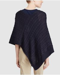 Lauren by Ralph Lauren - Blue Cable Knit Poncho-style Sweater - Lyst