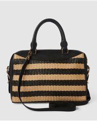 Lauren by Ralph Lauren Black Two-tone Natural And White Fabric Handbag