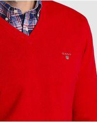 Gant - Red V-neck Sweater for Men - Lyst