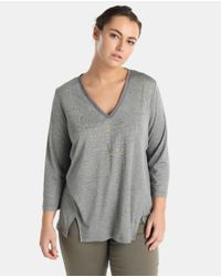 Couchel - Gray Plus Size Grey T-shirt With Studs - Lyst