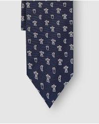 Polo Ralph Lauren - Printed Navy Blue Jacquard Silk Tie for Men - Lyst