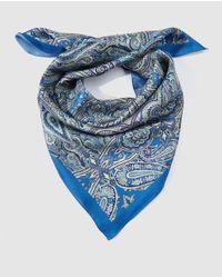 El Corte Inglés Blue Paisley Print Silk Handkerchief