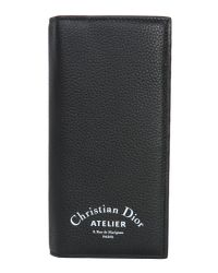 Dior Homme - Black Long Bifold Wallet In Grained Leather - Lyst