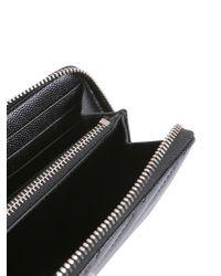 Saint Laurent - Black Monogram Zip Around Wallet In Grain De Poudre Matelassé Leather - Lyst