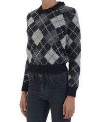 Saint Laurent - Black Mohair Crew Neck Sweater - Lyst