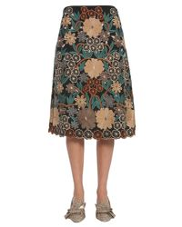 RED Valentino - Multicolor Embroidered Flower Flared Skirt - Lyst